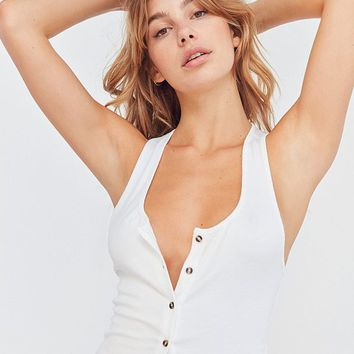 Out From Under Slinky Ribbed Button Tank Top | Urban Outfitters