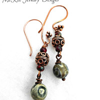 Green inlaid agate stone with Copper earrings. Small jewelry.