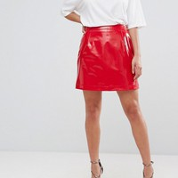 ASOS PETITE Vinyl A Line Mini Skirt at asos.com