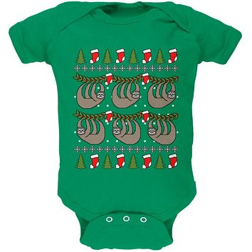 Hanging Sloth Ugly Christmas Sweater Soft Baby One Piece