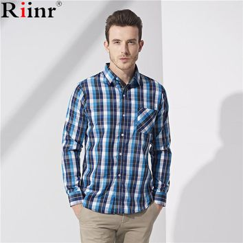 Men Shirt Long Sleeve  Plaid Dress Shirt Casual Chemise Home
