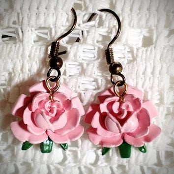 Pretty in Pink Roses Earrings - Only 1 Available!
