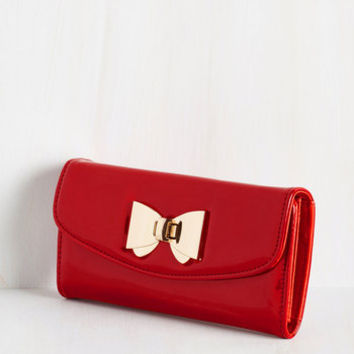 Film Noir Glossed and Found Wallet in Ruby by ModCloth