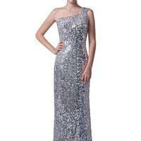 Long Sliver Sequins One Shoulder Beach Evening Dresses Strapless Sleeveless Backless Zipper Closure Prom Gowns Formal Party