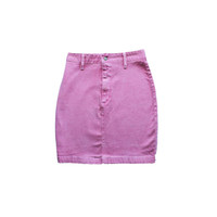 Pink Denim Pencil Skirt 80's 90's High Waist Stretchy Fitted Bodycon Bright Pink Jean Skirt Hipster Soft Grunge Pastel Goth Kawaii Size XS
