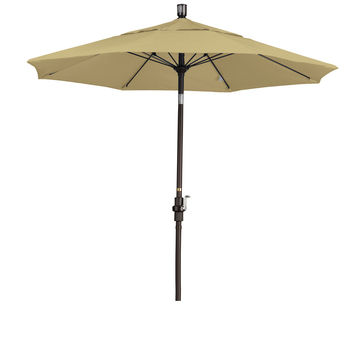 7 1/2 Foot Sunbrella 5A Fabric Fiberglass Rib Crank Lift Collar Tilt Aluminum Patio Umbrella with Bronze Pole