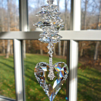 "Theresa - 10"" Swarovski Crystal Heart Suncatcher - 37mm  Pendant Topped with Swarovski Crystal Octagon Crystals"