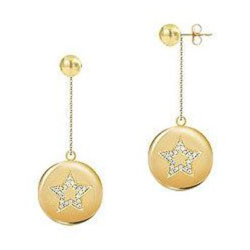 Diamond Star Disc Earrings : 14K Yellow Gold - 0.30 CT Diamonds