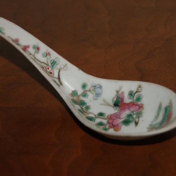Vintage Japanese White Porcelain Soup Or Rice Spoon With Floral Motif Red Underglaze Makers Stamp Late 1800s to Early 1900s