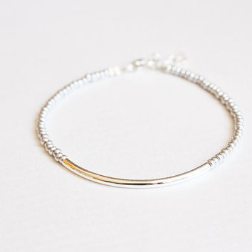 silver bar - friendship bracelet -  minimalist jewelry