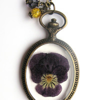Violet Resin Necklace - Real violet in resin  in open back Pocket Watch Bezel, Pressed Flower Jewelry - Resin Necklace - Resin Jewelry