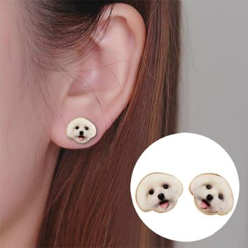 2017 New Arrival Fashion Designed Cute Animal Earrings Oil Painting Happy Dog Head Earrings for Women and Girls OED045
