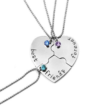 3 pcs/set Broken Heart Pendant Necklace Best Friends Forever Neclaces Women Men Fashion Crystal Love BFF Friendship Jewelry Gift