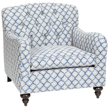 Toulouse Tufted Chair, Indigo, Club Chairs