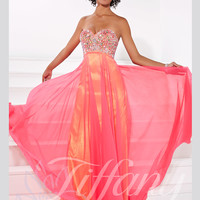 Sweetheart Beaded Top Floor Length Prom Dress Tiffany Designs 16093
