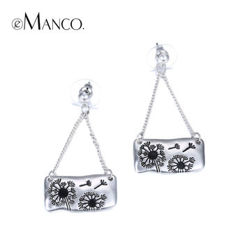 eManco Stylish Nature Geometric Drop Dangle Earrings for Women Silver Plated Dandelions Pattern Pendant Jewelry Ear Accessories