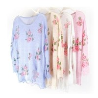 Oversized Star Floral Distressed Frayed Jumper Hole Knitwear Sweater