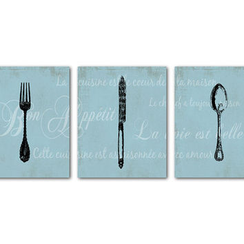 Parisian Kitchen Dining Room Art French Themed - Vintage Fork Knife Spoon - French Script - Chalkboard - Bon Appetit - La vie est belle