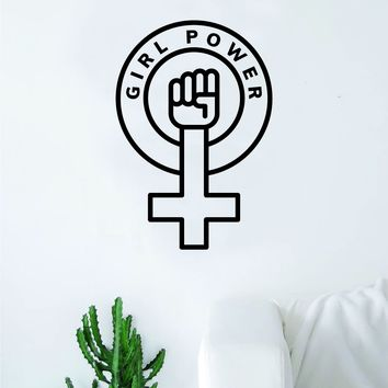 Girl Power V4 Wall Decal Sticker Vinyl Art Bedroom Living Room Decor Decoration Teen Quote Inspirational Motivational Cute Lady Woman Feminism Feminist Empower Grl Pwr Love Strong Beautiful