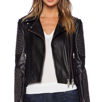 Mason by Michelle Mason Studded Moto Jacket in Black