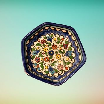 Small Shallow Hexagon Bowl , Palestinian Crafts