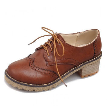 British Style Fashion Vintage Lacing Bullock Low-Top Chunky Mid Heels Shoes Women's Pumps Round Toe Casual Oxfords Leather Shoes