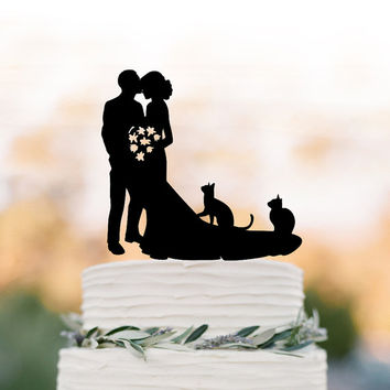 Bride And Groom Wedding Cake Topperwith Two Cats Topper Silhouette