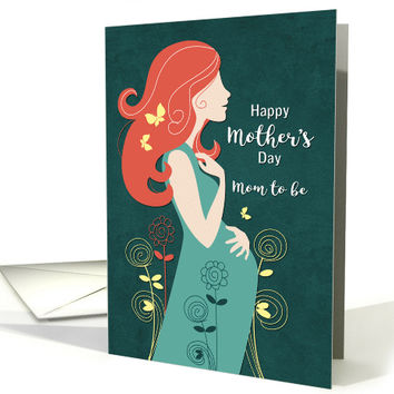 Silhouette Mom to Be with Butterflies for Mother's Day card