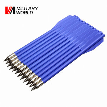 12pcs pack Outdoor Hunting Shooting Archery Bow Arrows With Plastic Feather Aluminum Arrow Point Archery Arrow Tactical Gear