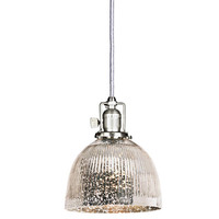 JVI Designs BKIT-1201-17-S5-SR Union Square Pewter One Light Mini Pendant with 7-Inch Antique Mercury Glass