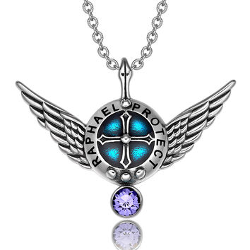 Archangel Raphael Angel Wings Protection Shield Magic Power Charm Purple Crystal Pendant 18 inch Necklace