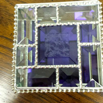 Exquisite Stained Glass Beveled Jewelry Box With German Blue/Purple Antique Mirror Bottom, Keepsake Box, Stunning....A Wonderful Gift!