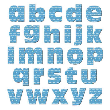 Alphabet Letters Lowercase Waves - Ocean Sea Nautical MAG-NEATO'S TM Refrigerator Magnet Set