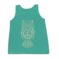 Sassy Frass Cute Hippie Owl Girlie Bright Comfort Colors Tank Top