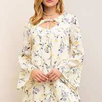 Dainty Floral Front Cut Out Dress