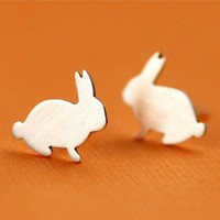 Overstock SALE- WAS: 60.00 NOW 30.00-Tiny Bunny Studs in Silver