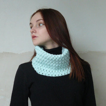 Crochet infinity scarf Autumn scarf Cowl neck Crochet scarf Turquoise scarf Neck warmer Cowl scarf Winter scarves for women Gift for her