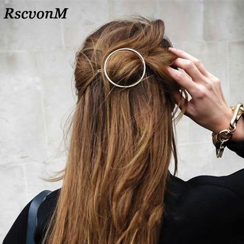 Top quality Gold Silver Color Metal Triangle Hairpin Girls' Hair Clips Women Fashion Hair Accessories Circle Hair Clips Hairpins