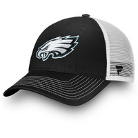 Men's Philadelphia Eagles NFL Pro Line by Fanatics Branded Black/White Core Trucker III Adjustable Snapback Hat