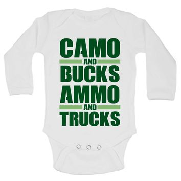 Camo And Bucks Ammo And Trucks Funny Kids Onesuit