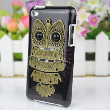 Apple Ipod Touch 4, iPod Touch 4th,iTouch 4,iPod Touch 4gen Hard Case Cover With Antique Brass Owl