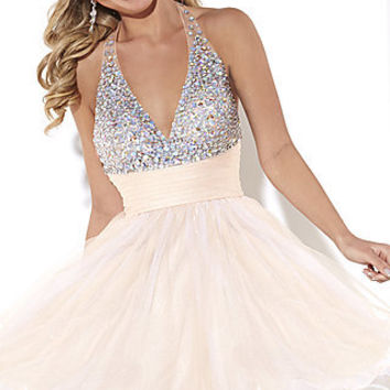 Short V-Neck Beaded Halter Top Dress by Hannah S.