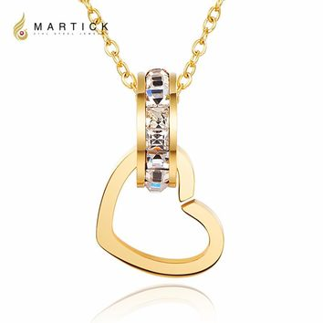 Martick Brilliant Double Circle Love Shape Pendant Necklace With Shining Clear CZ Link Chain Fashion Jewelry For Women P43