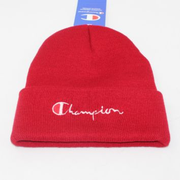 Champion male and female alphabet embroidery knit couple student woolen cap Wine red