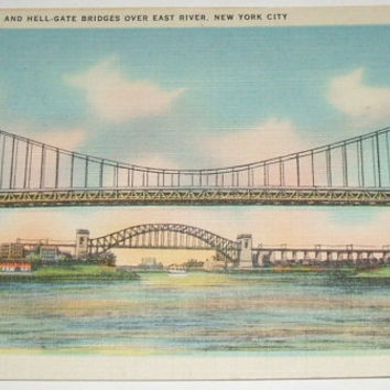 Triborough And Hell-Gate Bridges Over East River New York City Linen Postcard Vintage Unused NYC Ephemera Americana Colourpicture Card
