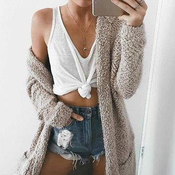 Simplee Long Cardigan Sweater