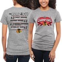 Women's Chicago Blackhawks Gray 2015 Stanley Cup Champions All Score Fitted T-Shirt
