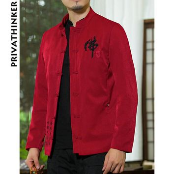 Sinicism Store INS Men Clothes 2018 Mens Cotton And Linen Embroidery Causal Red Jacket And Coat Male Chinese Style Windbreaker