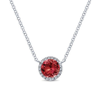Gabriel Garnet and Diamond Halo Pendant