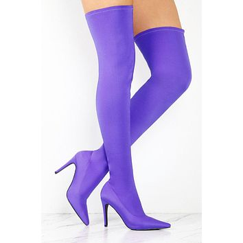 So Me Stiletto High Heel Pointy Toe Purple Stretch Lycra Stocking Thigh Boots